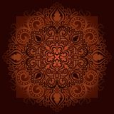 Round patterned ornament mandala 1. Round patterned ornament mandala. Bright delicate pattern on dark background. Vector Royalty Free Stock Images