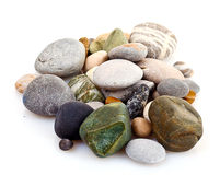 Round pebble stones isolated Stock Images