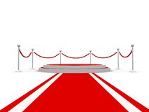 Round pedestal with barriers and red carpet Stock Image
