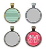Round pendant mockup template. Set of circle pendant mockup templates Royalty Free Stock Photo