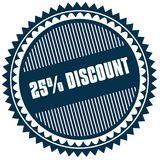 Round 25 PERCENT DISCOUNT blue sticker. Illustration image concept Royalty Free Stock Image
