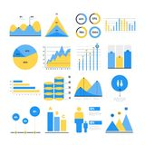Infographic vector elements. Set of financial and marketing charts. Round and with percentages diagrams showing progress and regression. Color business graph Royalty Free Stock Images