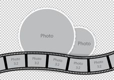 Round photoframes with film strip for family album. Vector illustration Royalty Free Stock Images