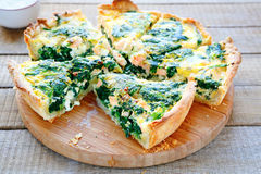 Round PIE with spinach and fish Stock Image
