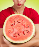 Round piece of watermelon Stock Image