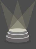 Round piedestał na ciemnym tle, iluminującym floodlights royalty ilustracja