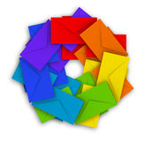 Round pile of colorful envelopes  on white Royalty Free Stock Images