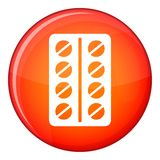 Round pills in a blister pack icon, flat style Royalty Free Stock Photography