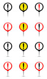 Round pin with exclamation mark, exclamation point. Marker Stock Photography