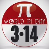 Commemorative Pin for World Pi Day Celebration in March 14, Vector Illustration. Round pin like lose-leaf calendar with reminder date and pi symbol to celebrate Royalty Free Stock Images