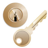 Round Pin tumbler lock and key Stock Photography