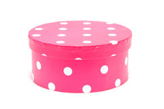 Round pink box with white dots Royalty Free Stock Photography
