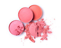 Round pink crashed eyeshadow for makeup as sample of cosmetic product Stock Photos