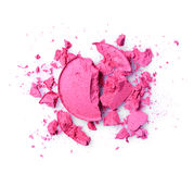 Round pink crashed eyeshadow for makeup as sample of cosmetic product Royalty Free Stock Photos