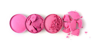 Round pink crushed eyeshadow for make up as sample of cosmetic product Royalty Free Stock Images