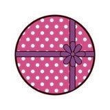 round pink gift box present ribbon dots Stock Photos