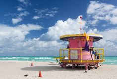 Round pink lifeguard station on Miami beach. Circular round pink lifeguard station on Miami beach Florida royalty free stock images