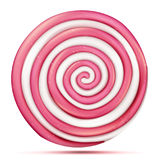 Round Pink Lollipop Isolated Vector. Classic Sweet Realistic Candy Abstract Spiral Illustration vector illustration