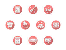 Round pink romance icons Royalty Free Stock Images