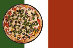 Round pizza and flag Royalty Free Stock Photo