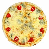 Round pizza with tomatoes, mushrooms and cheese on white background Royalty Free Stock Images
