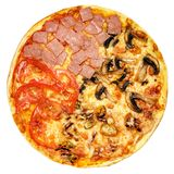 Round pizza with tomatoes, mushrooms and cheese on white background Stock Photography