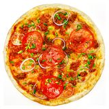 Round pizza with tomatoes, mushrooms and cheese on white background Stock Photos