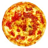 Round pizza with tomatoes, mushrooms and cheese on white background Royalty Free Stock Photo