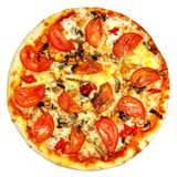 Round pizza with tomatoes, mushrooms and cheese on white background Royalty Free Stock Photography