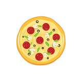 Round pizza vector icon isolated on white background Royalty Free Stock Image