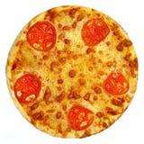 Round pizza z pomidorami, pieczarkami i serem na białym tle, Obrazy Royalty Free