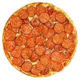 Round pizza z pomidorami, pieczarkami i serem na białym tle, Zdjęcie Stock