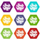Round planet icon set color hexahedron Royalty Free Stock Image