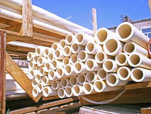 Round plastic pipes Stock Photo