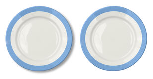 Round plate with blue border isolated Stock Photos