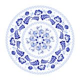 Round wreath of flowers in Russian folk style Gzhel stock illustration