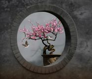 Round plum flower and bird painting. Chinese elements calligraphy and painting color close-up color black red Chinese concept folk culture traditional art image stock photography