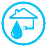 Round plumber icon with wrench and house Stock Photo