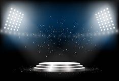 Round podium Pusty piedestał dla ceremonii wręczenia nagród Platforma iluminująca światłami reflektorów również zwrócić corel ilu Fotografia Stock