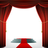 Round podium under the red curtain. Stock  Stock Images