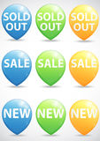 Round pointer for big sale, new and sold out items Royalty Free Stock Photos
