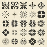25 round and polygonal ornament element set. Twenty five  monochromatic sample object collection.  Circular, floral, oriental, geometrical, grunge motif swatch Royalty Free Stock Photo