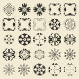 25 round and polygonal ornament element set. Twenty five  monochromatic sample object collection.  Circular, floral, oriental, geometrical, grunge motif swatch Stock Photo