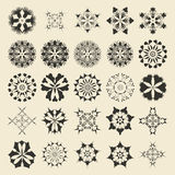 25 round and polygonal ornament element set. Twenty five  monochromatic sample object collection.  Circular, floral, oriental, geometrical, grunge motif swatch Stock Photography