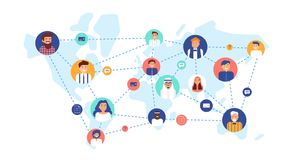 Round portraits of smiling people connected with each other on world map. International business team, global. Professional network, multinational company. Flat stock illustration