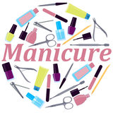 Round Poster manicure Royalty Free Stock Photos