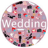 Round poster Wedding. The dress, suit and a bouquet of flowers. Vector illustration Stock Photos