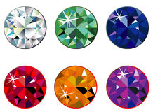 Round precious stones with sparkle Stock Images