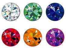 Round precious stones with sparkle. Illustration of round precious stones with sparkle Stock Images
