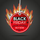 Round Price Sticker Black Friday Dark Fire. Price label with text black friday and fireon the dark background Stock Image